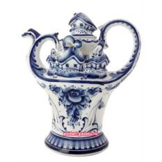 Чайник Гжель заварочный керамический Деревня