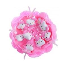 Букет из мягких игрушек Котята (9 шт., цвет — розовый)