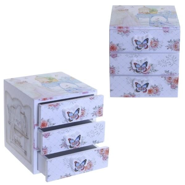 Шкатулка с тремя ящиками Бабочки