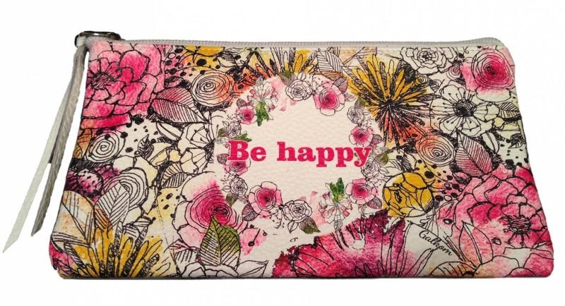 Кожаная косметичка Be happy