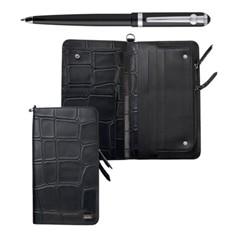 Набор аксессуаров Ungaro, портмоне, шариковая ручка (черный)