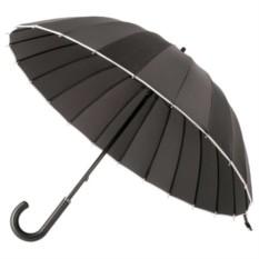 Механический, черный зонт-трость Ella с кожаной ручкой