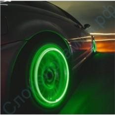 Комплект из 4 зеленых LED подсветок для колес автомобиля