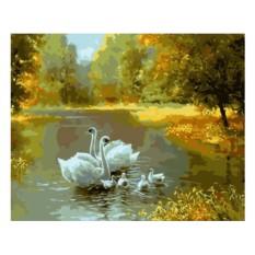 Картины по номерам «Семья лебедей»