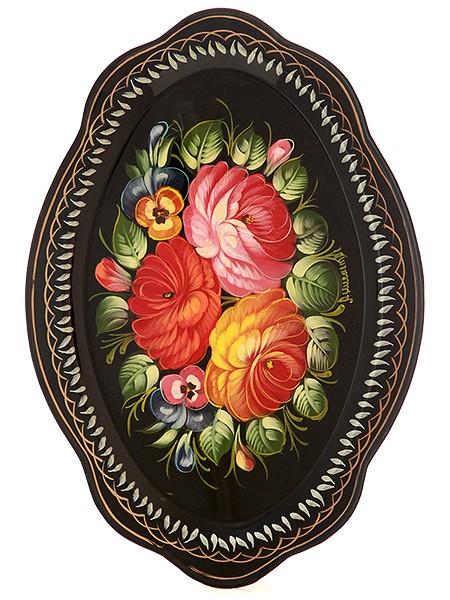 Овальный поднос Жостово с художественной росписью Букет