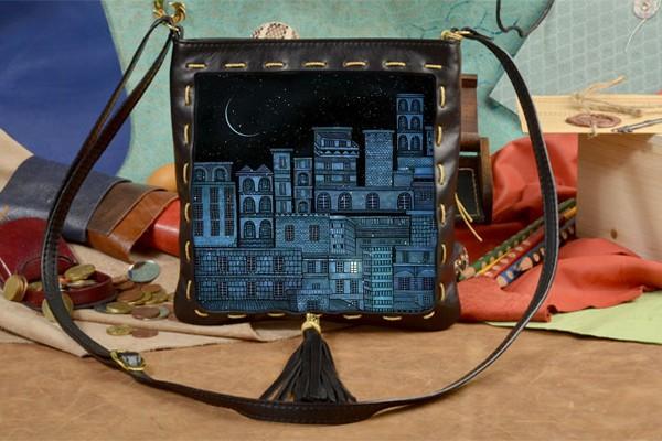 Женская сумка-планшет с принтом Ночь над городом