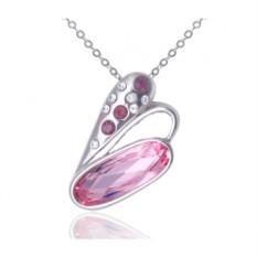 Кулон с розовыми кристаллами Сваровски «Взмах крыла»