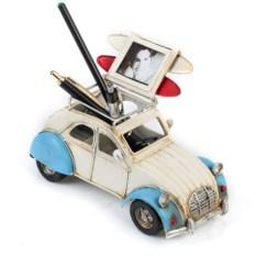 Ретро-модель Бело-синий автомобиль с рамкой и подставкой