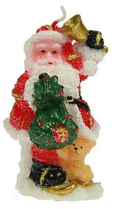 Новогодняя свеча Дед Мороз, с мешком подарков