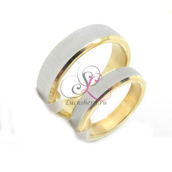 Парные кольца для влюбленных, серебристо-золотистые