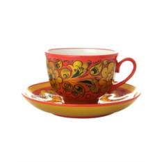 Чайная пара Кудрина на красном фоне