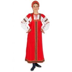 Русский народный костюм: красный хлопковый Дуняша