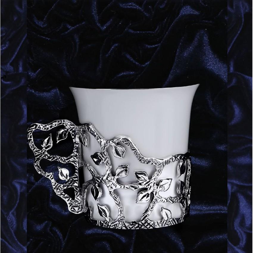 Серебряная кофейная чашка Листопад