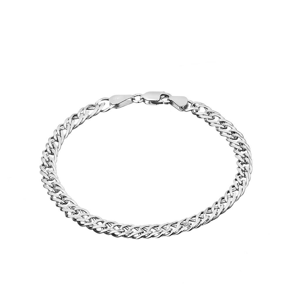 Мужской серебряный браслет, с плетением Двойной ромб