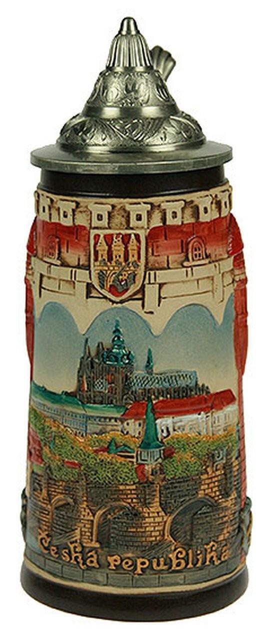 Пивная кружка с крышкой Прага