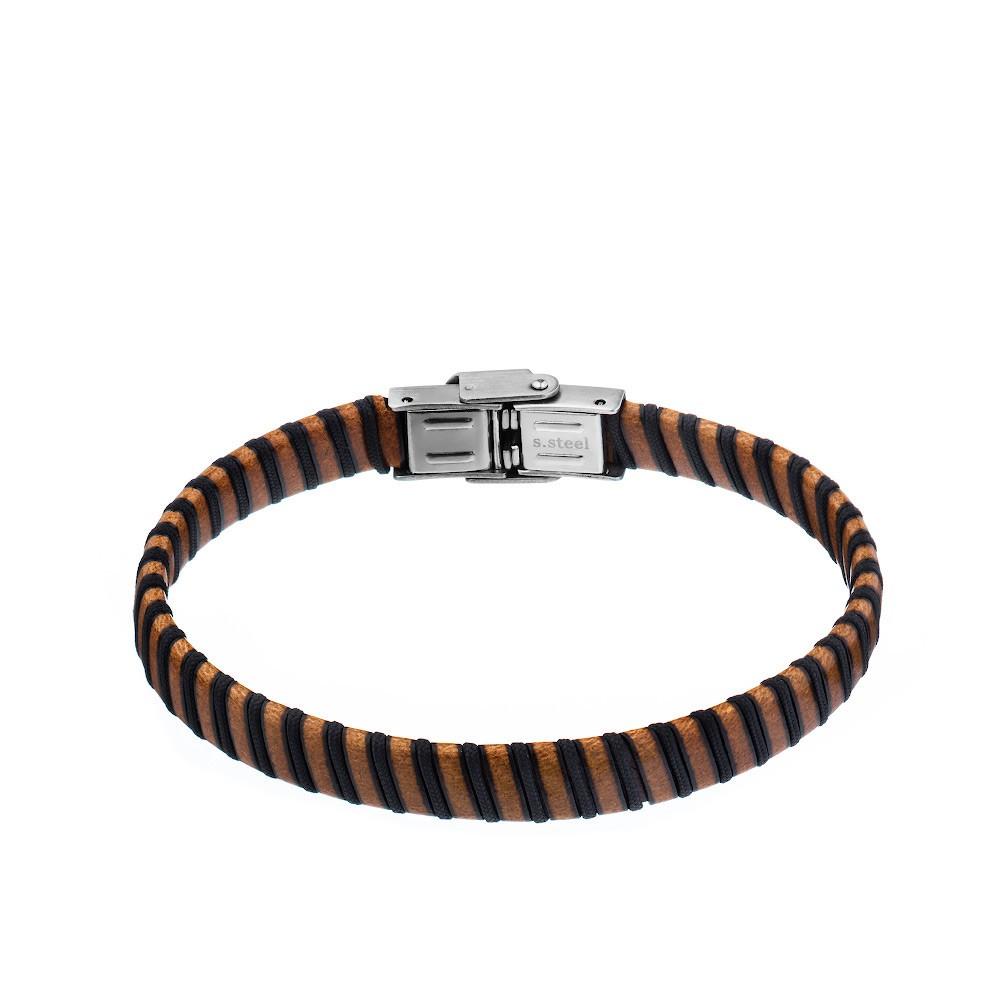 Кожаный мужской браслет светлого коричневого цвета
