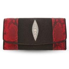 Кошелек из кожи красного питона и черного ската