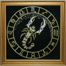 Картина с кристаллами Swarovski Скорпион Золото