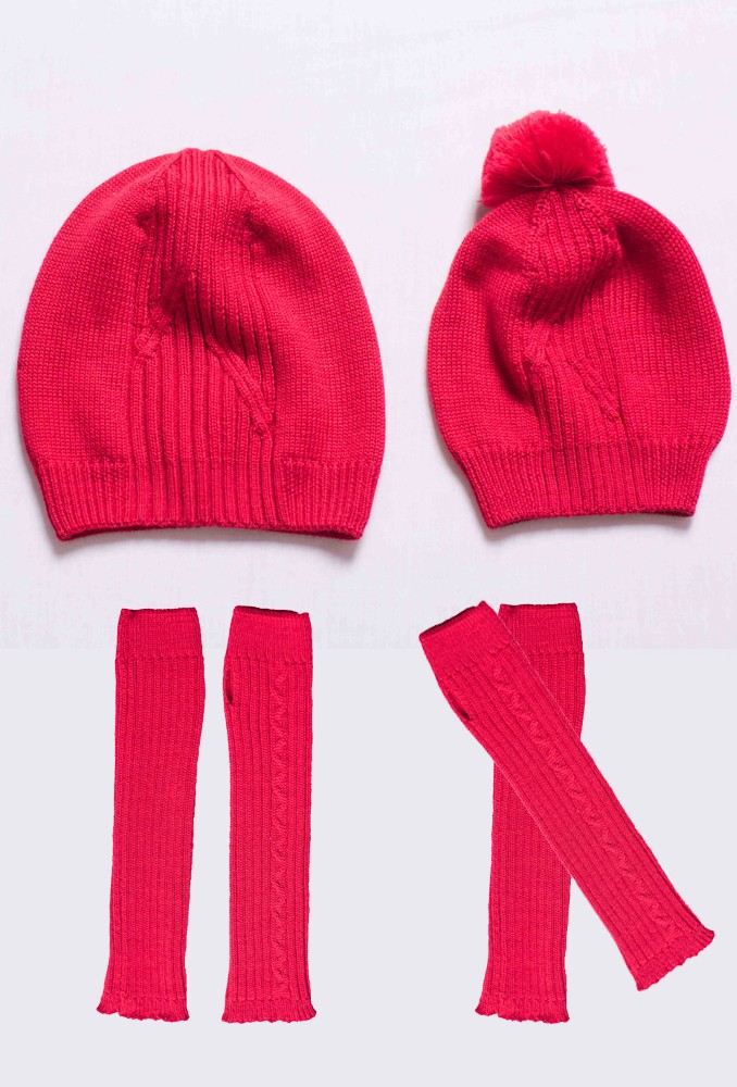Комплект шапок и митенок Red Nose для мамы и дочки