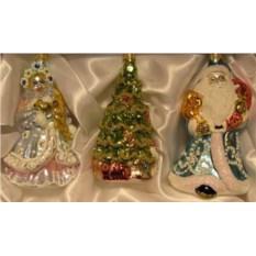 Набор Снегурочка с зайчиком, елочка и Дед Мороз с мешком