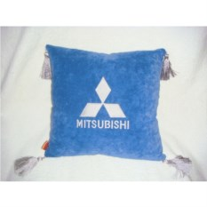 Синяя подушка с серебряными кистями Mitsubishi