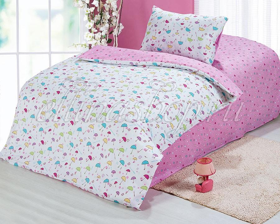 Розовый комплект белья в кроватку из сатина (Cleo)