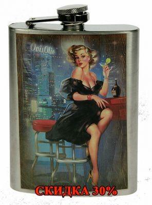 Подарочная фляжка Пин-ап 8oz, девушка в баре