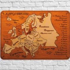 Деревянный пазл в рамке Карта Европы на русском языке