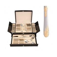 Столовый набор в чемодане, 72 предмета, узоры из листьев