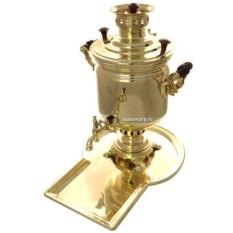 Набор с угольным самоваром на 5 литров Цилиндр (золотой)