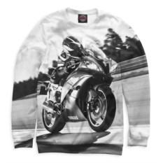 Черно-белый свитшот Мотоциклист