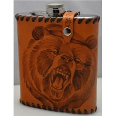 Фляга в чехле из натуральной кожи Медведь