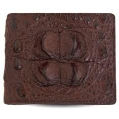 Коричневый мужской бумажник из головы кожи крокодила