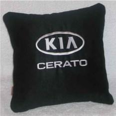 Черная подушка с белой вышивкой Kia cerato