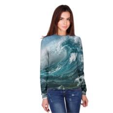 Женский лонгслив 3D с полной запечаткой Волна