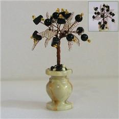 Миниатюрное дерево счастья из агата в вазочке из оникса