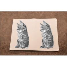 Кожаная обложка для паспорта Карандашный котенок
