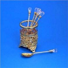 Золотистый набор в стакане из 6 ложек с кристаллами
