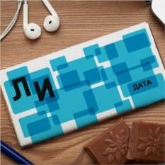 Шоколадная открытка  Голубой квадрат