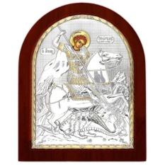 Георгий Победоносец. Икона в серебряном окладе.