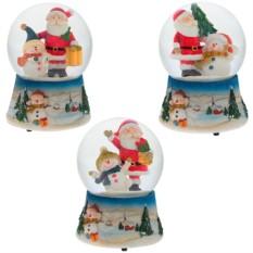 Декоративная фигурка в стеклянном шаре Санта со снеговиком