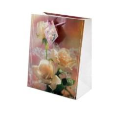 Бумажный ламинированный подарочный пакет с розами