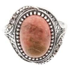 Кольцо из мельхиора в посеребрении с родонитом Модерн