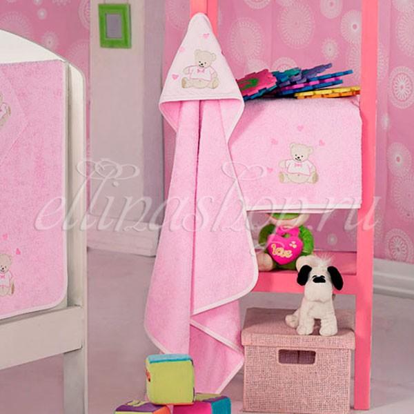 Розовое детское полотенце с уголком
