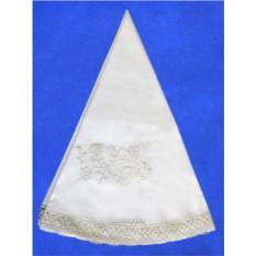 Круглая льняная скатерть с вышивкой Вологодское кружево