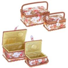 Набор из 2 бело-розовых шкатулок для рукоделия