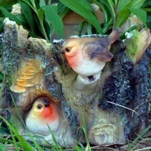 Кашпо «Пень с птичками»