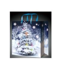 Пакет для новогодних подарков с синими ручками