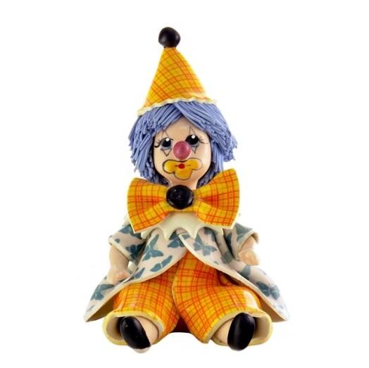 Фигурка из фарфора Печальный клоун в оранжево-розовом