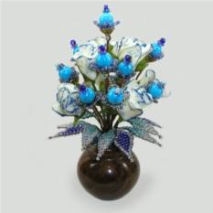 Цветок из бирюзы Нежная страсть в вазочке из оникса